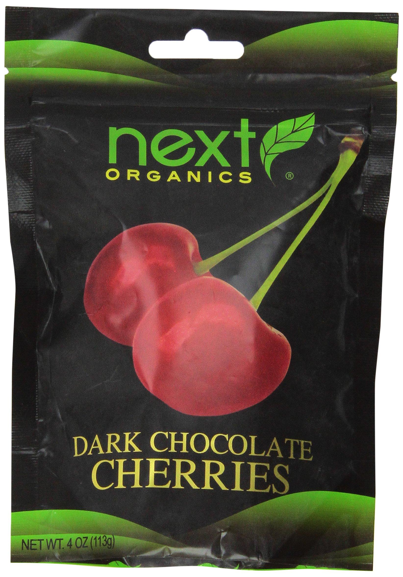 Next Organic Cherries Dark Chocolate Covered, 4-Ounce (Pack of 3)
