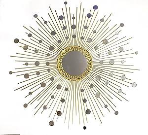 Fancy Bathroom Mirrors,Living Room Wall Mirror, Kitchen Wall Mirror Decorative Starburst Mirror,Metal Wall Hanging Mirror in Sunburst ShapeMD101