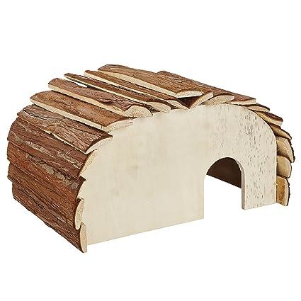 Casa de madera para erizo, estación de alimentación, refugio para