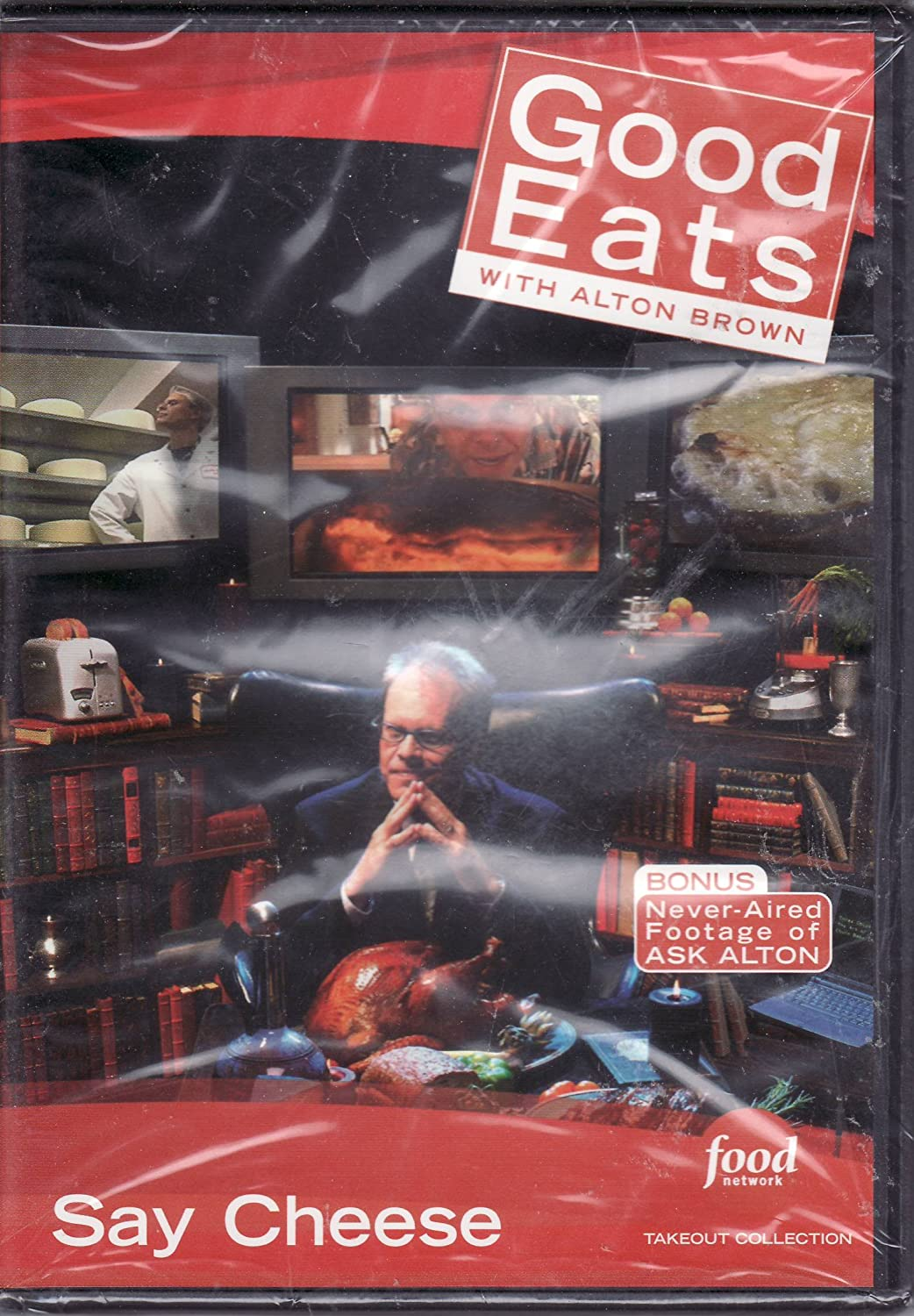Food Network Takeout Collection DVD - Good Eats With Alton Brown - Say Cheese - Includes BONUS FOOTAGE Plus For Whom The Cheese Melts Grilled Cheese / Egg Files 5 Cheese Souffle / A Bowl of Onion Soup