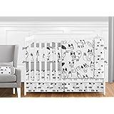 Sweet Jojo Designs 9-Piece Grey, Black and White Fox and Arrow Baby Boys or Girls Crib Bedding Crib Set with Bumper