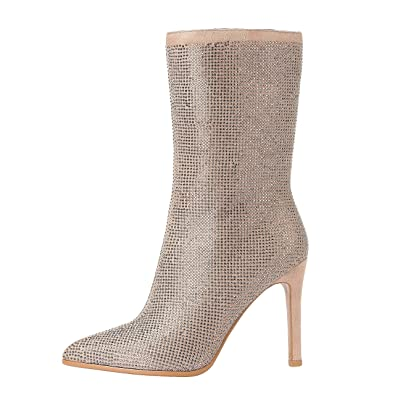 Marhee Thin Calf Booties For Women Sparkling Twinkly Stiletto Heels 4inch Height Beige 5