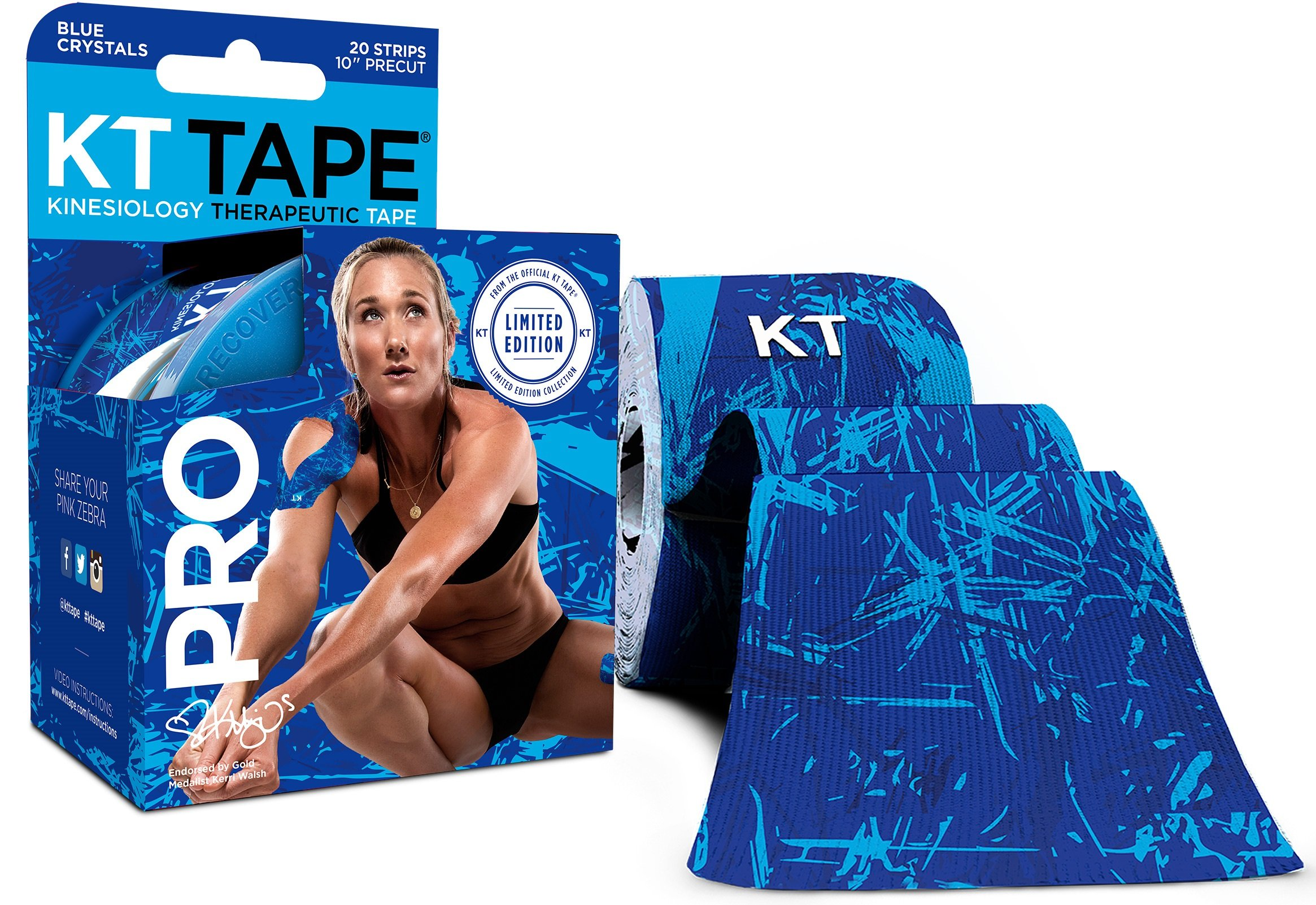 KT Tape PRO LIMITED EDITION Synthetic Kinesiology Tape Roll - 20 Precut 10 Inch I Strips - Blue Ice Crystals by KT Tape (Image #1)