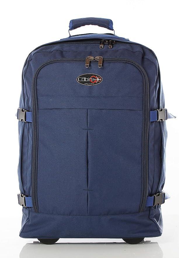 ... con cremallera - Mochila de equipaje de mano/cabina de viaje liviana. - 55 x 40 x 20 cm, 44 litros - con ruedas. Aprobado IATA/EasyJet/Ryanair: ...