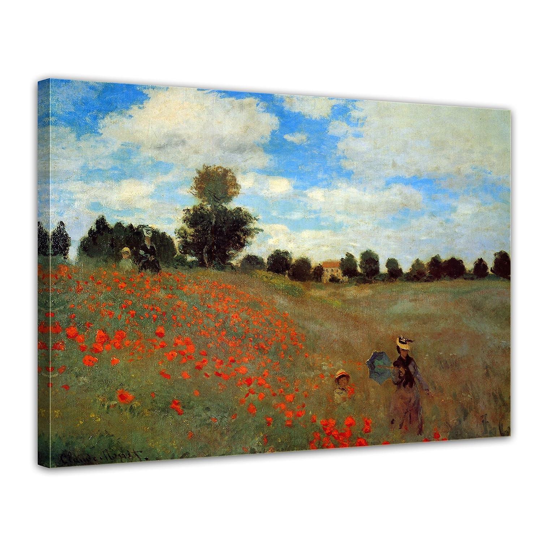 Bilderdepot24 Kunstdruck - Alte Meister - Claude Monet - Mohnfeld bei Argenteuil - 120x90cm XXL einteilig - Leinwandbilder - Bild auf Leinwand