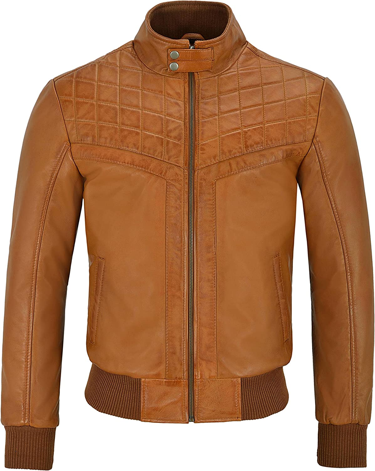 Smart Range Mens 70s Leather Jacket Tan Quilted Retro Bomber Style Lambskin Leather 4757