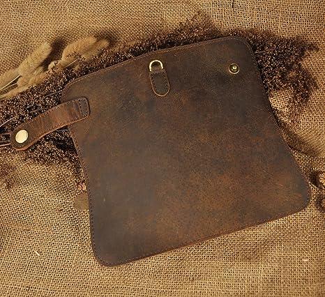Amazon.com: Leaokuu Mens Genuine Leather Bifold Wallet Organizer Checkbook Iron Chain (1088 Brown): hello2000