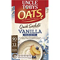 UNCLE TOBYS OATS QUICK SACHETS Vanilla Variety Pack, 12 x 35g