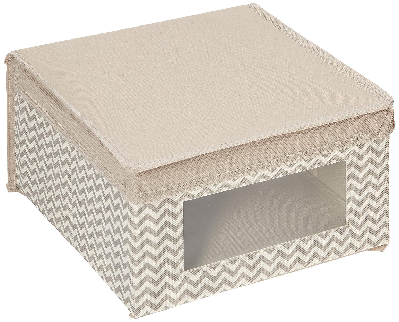 mDesign boite de rangement en tissu (lot de 4) – panier de rangement idéal pour vêtements et pour armoire – bac de rangement avec couvercle et fenêtre – taupe MetroDecor