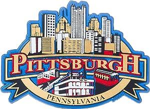 City of Pittsburgh PA Metallic Foil Rubber Souvenir Refrigerator Magnet