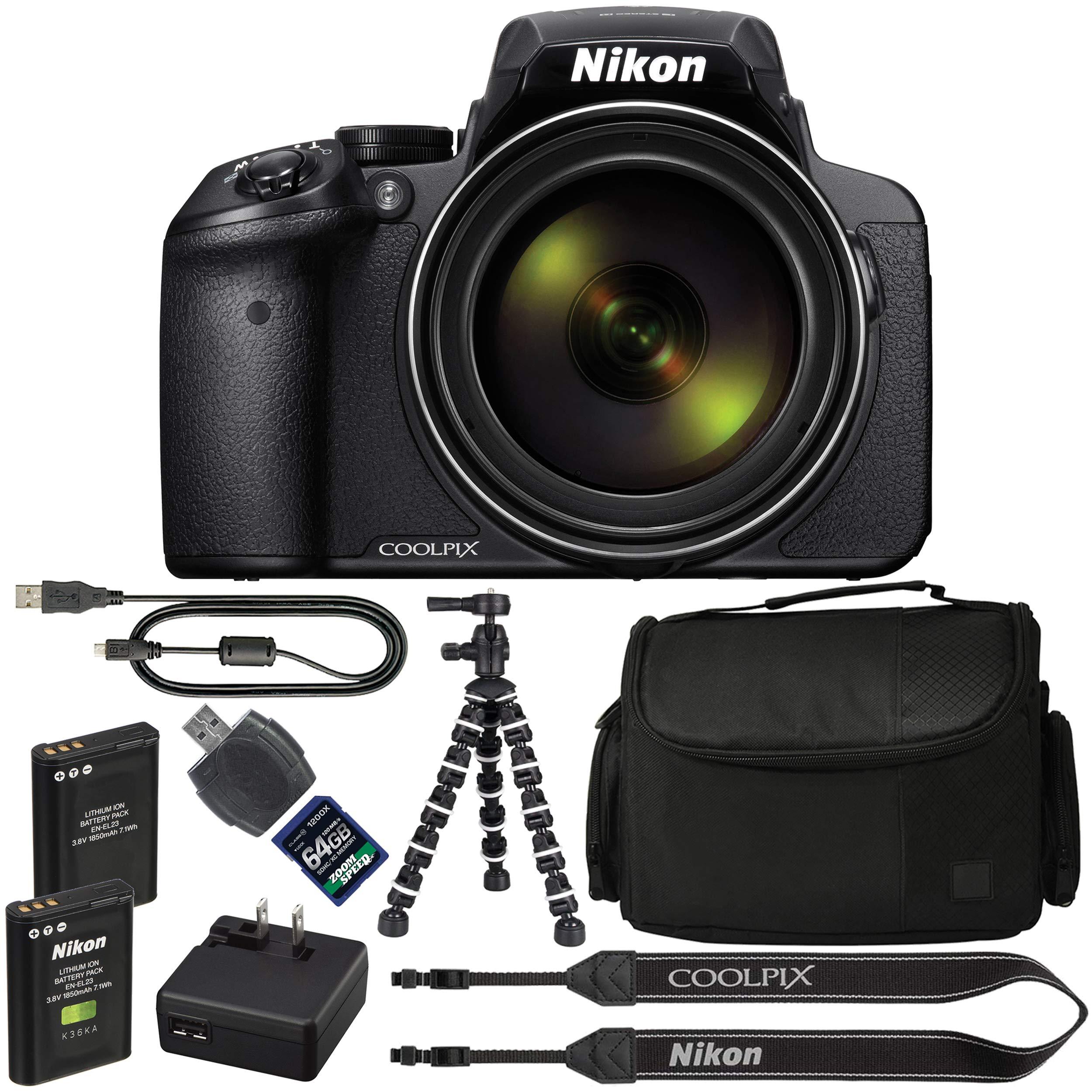 Nikon COOLPIX P900 Digital Camera: with 83x Optical Zoom and Built-in Wi-Fi(Black) + 64GB 1200X SDXC Card + 2 EN-EL23 Batteries + Case + Flexible Tripod + Pro Bundle: International Version by AOM
