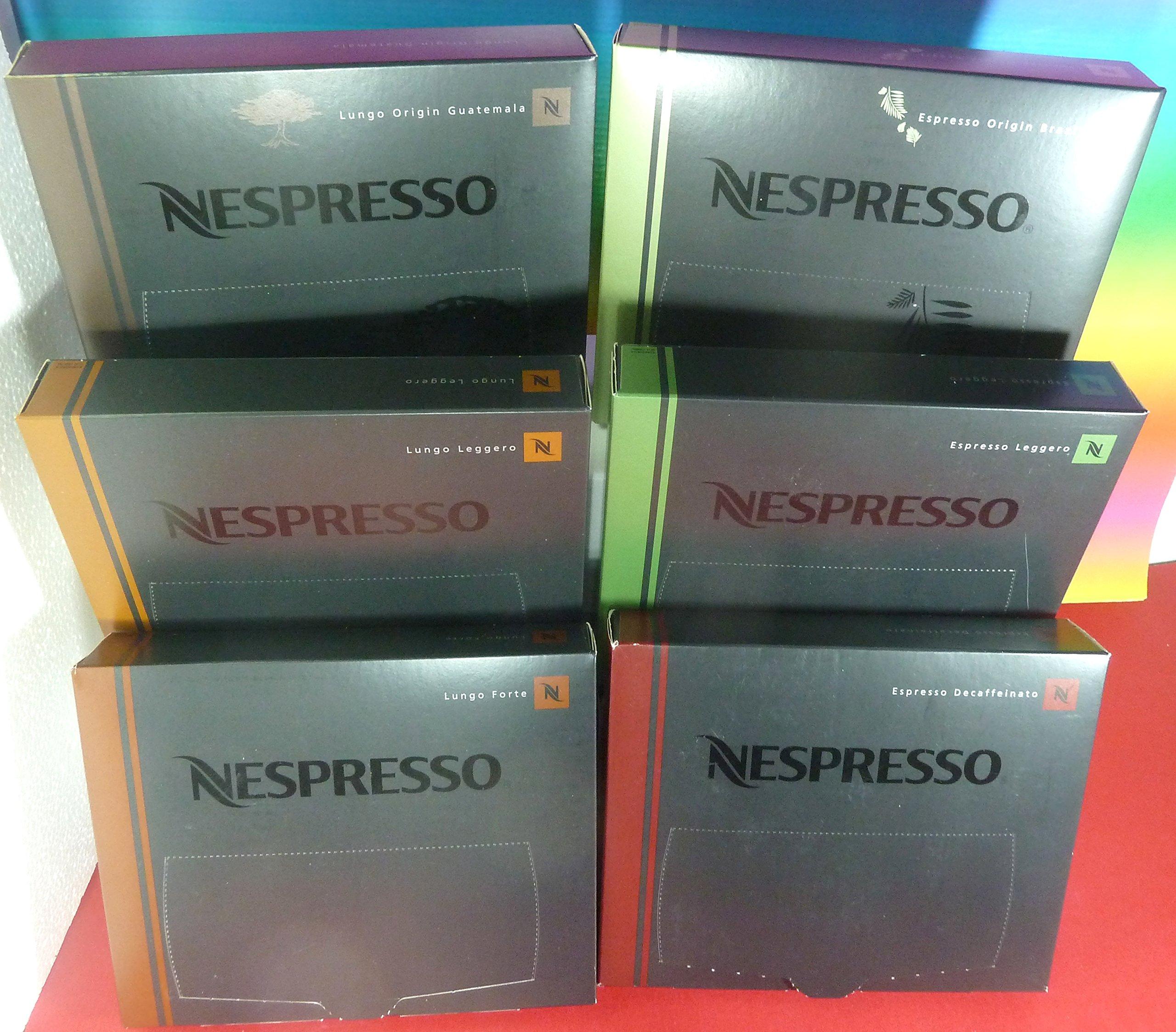 NESPRESSO 6 PACK X 50 PRO ORIGINAL Commercial Capsules,Espresso origin Brazil,Espresso Leggero, Espresso Decaffeinato,Lungo Origin Guatemala,Lungo Forte,Lungo Leggero