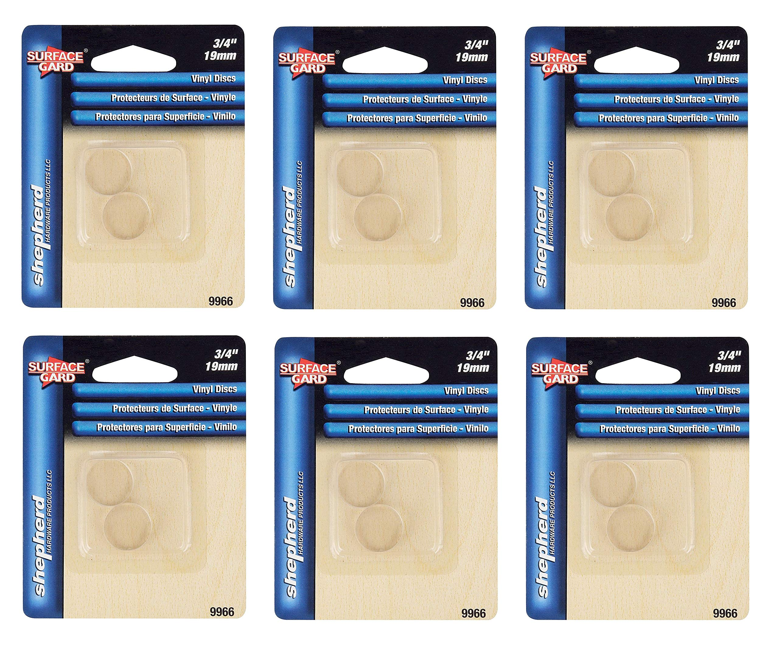Shepherd Hardware 9966 3/4-Inch SurfaceGard Non-Adhesive Round Transparent Bumper Pads, Sold as 6 Pack, 60 Count Total
