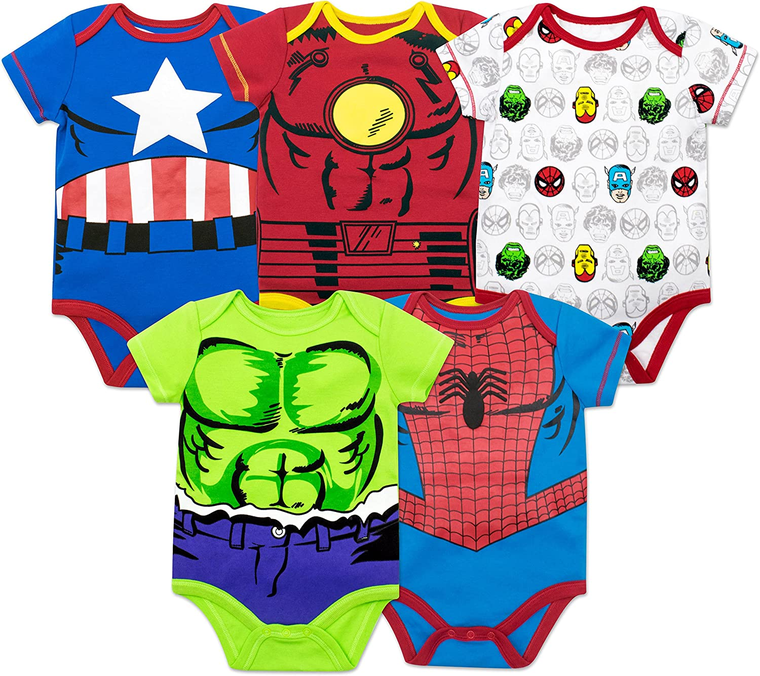 Marvel Baby Boys 5 Pack Bodysuits - The Hulk  Spiderman  Iron Man and Captain America