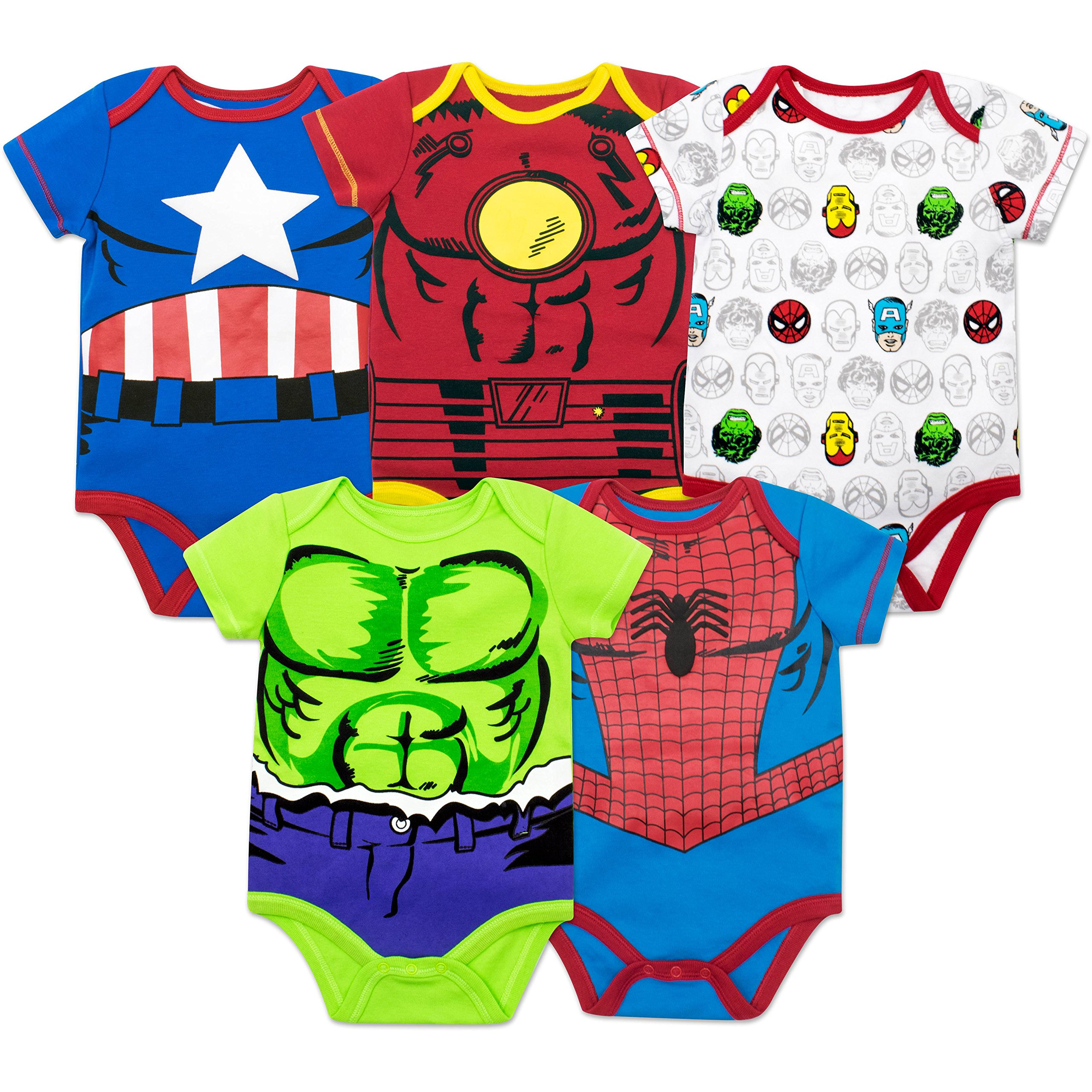 Marvel Baby Boys' 5 Pack Onesies - The Hulk, Spiderman, Iron Man and Captain America (0-3 Months)