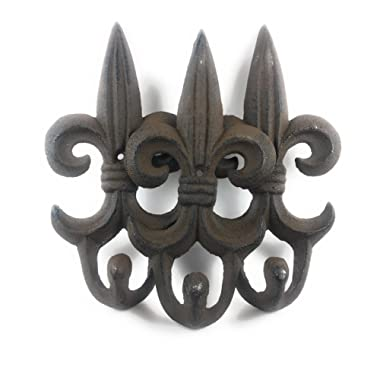 SET OF 3 - Cast Iron Fleur De Lis Hangers Rustic Brown w/Black Edges - Decorative Wall Mounted Coat Hooks, Excellent for Coats, Bags - Shabby Chic Vintage, Towels, Scarf's by Ashes to Beauty
