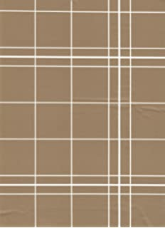 White Lines Flannelback Vinyl Tablecloth In Brown, 60x84 Oval