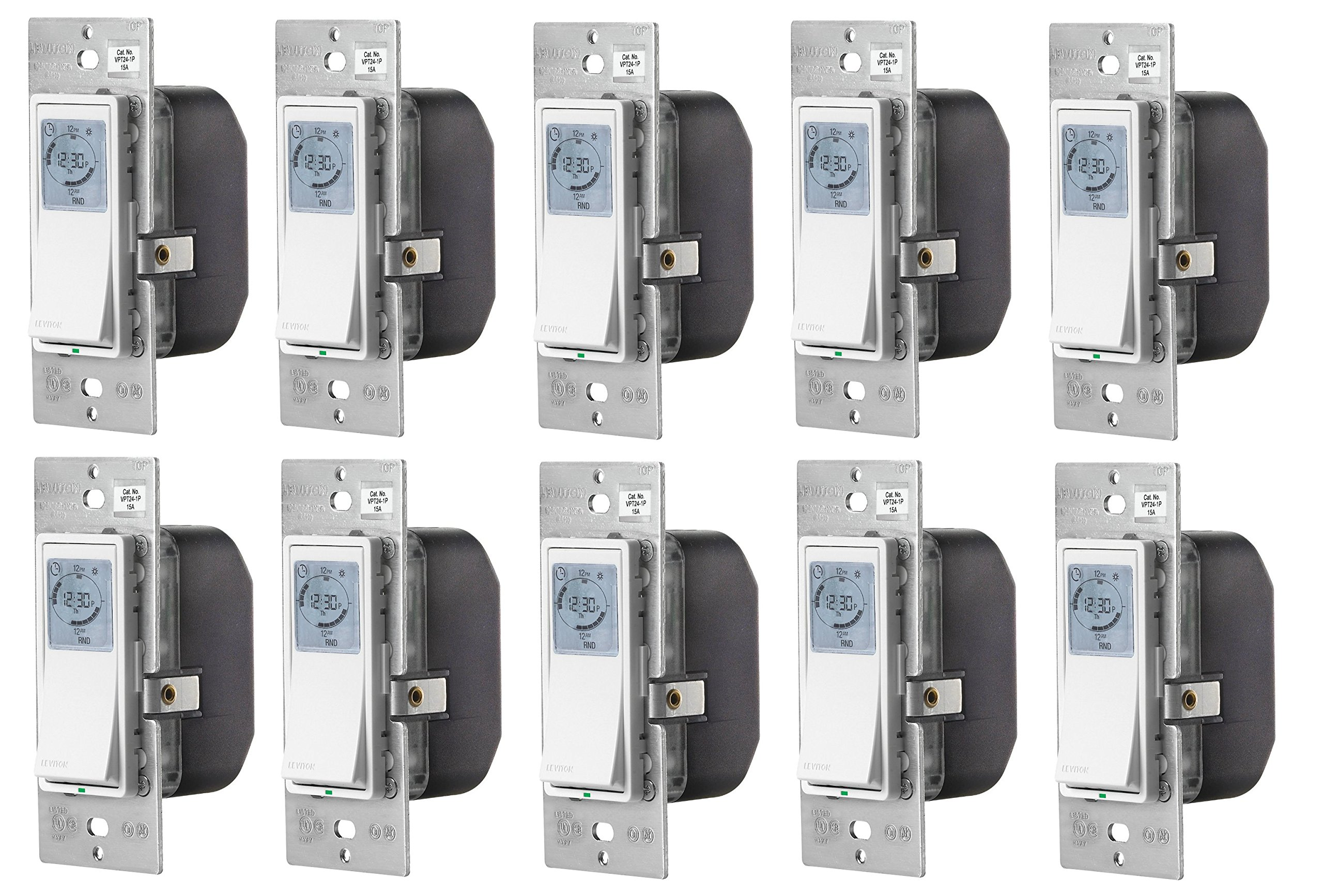 Leviton VPT24-1PZ Vizia 24-Hour Programmable Indoor Timer with Astronomical Clock, 10-Pack by Leviton
