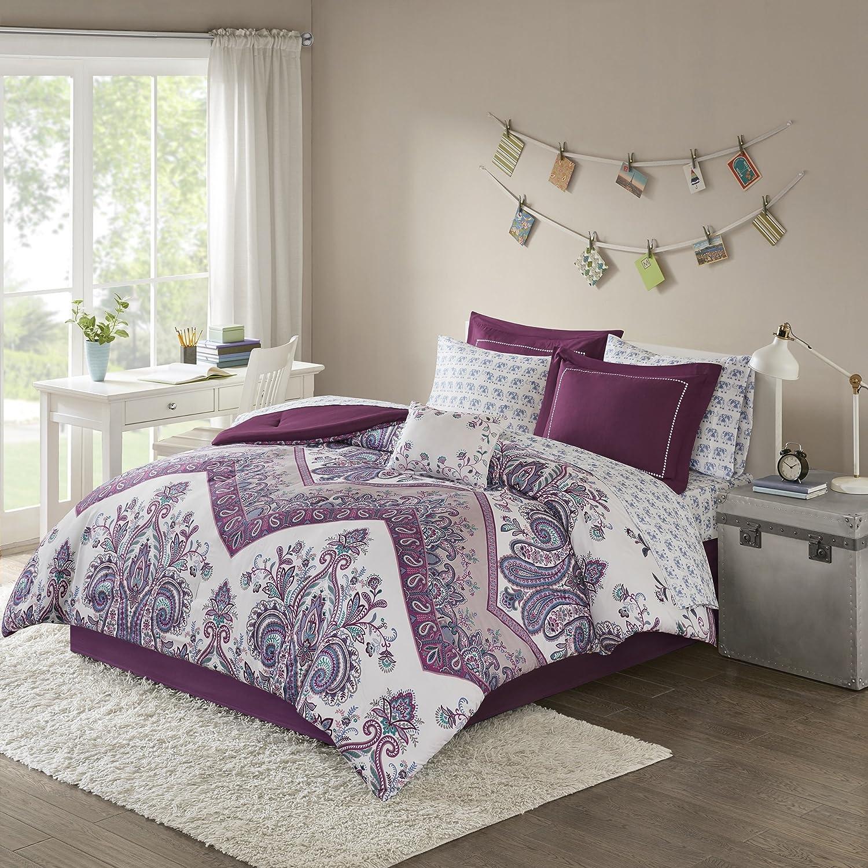 9ピースGirls、ゴージャスなエレガントなモチーフ花柄パターン布団セットフル、従来ダマスクボヘミアンデザイン、美しいカジュアルペイズリー花テーマ、Stunning寝具、愛らしいパープル、マルチカラー B079VVX26N