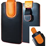 Emartbuy Nero/Arancione Qualità PU Pelle Custodia Case Cover Sleeve (Size 5XL) con Linguetta Adatta Adatto per Smartphone Elencati Sotto