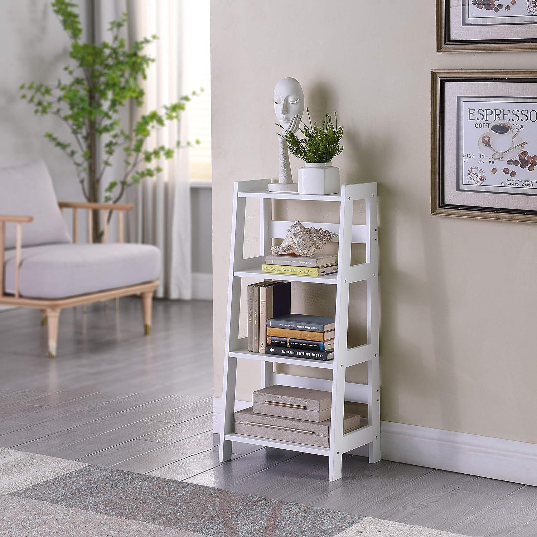 Bookshelf Display Rack Bookcase Storage White TMEE/® White Ladder Shelf Wooden 4 Tier Storage Unit Display Standing Bathroom Shelf