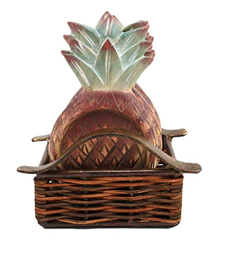 Set of 4 Wooden Pineapple Coasters with Basket Holder