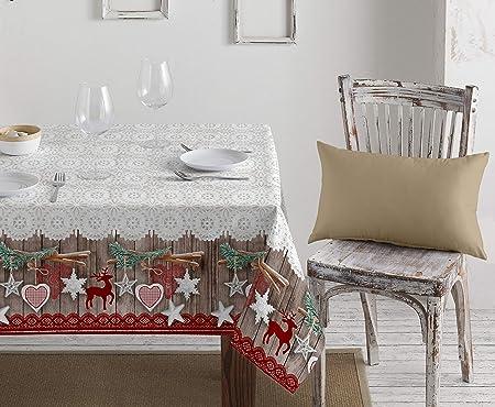 1KDreams - Mantel navideño de algodón. Decoración refinada y moderna. Clásica Navidad en llave moderna. Shabby Chic. Fabricado en Italia.: Amazon.es: Hogar