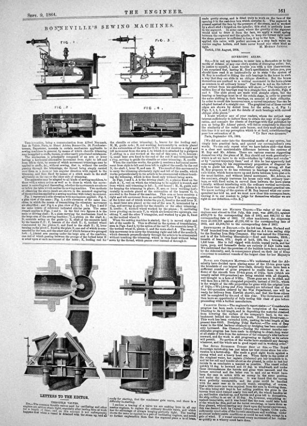 Impresión Antigua de las VÁLVULAS 1864 de VÁLVULA REGULADORA de las MÁQUINAS DE COSER de BONNEVILLE de la INGENIERÍA: Amazon.es: Hogar
