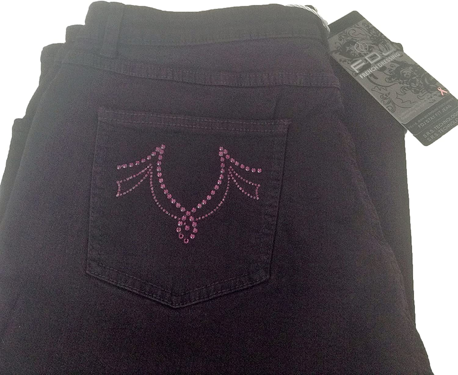 French Dressing Jeans Ladies FDJ Dusty Bootcut Embellished Jeans. 3 Colours. Sizes 6-18 Plum