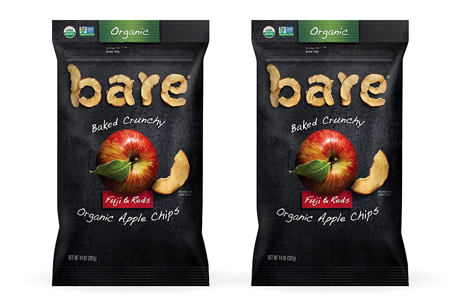 Bare Baked Crunchy Organic Apple Chips, Fuji & Reds, Gluten Free, 14 Ounce Bag, 2 Count