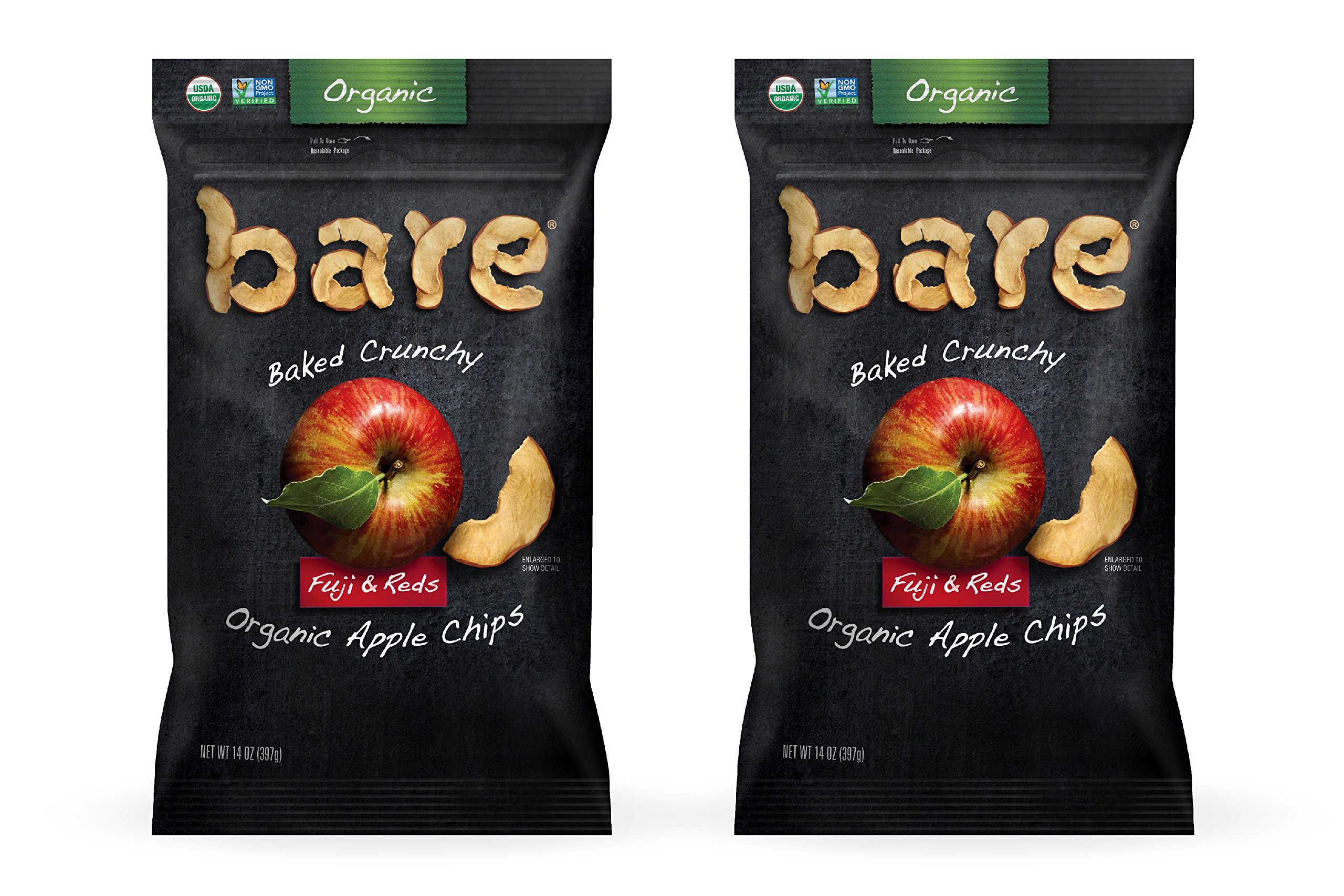 Bare Baked Crunchy Organic Apple Chips, Fuji & Reds, Gluten Free, 14 Ounce Bag, 2 Count by Bare