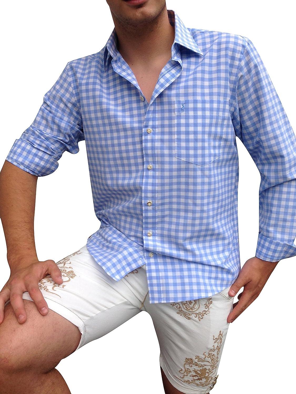 Trachtenhemden Hemden Freizeithemden Herren Blau-Weiß Karo Baumwollmischung