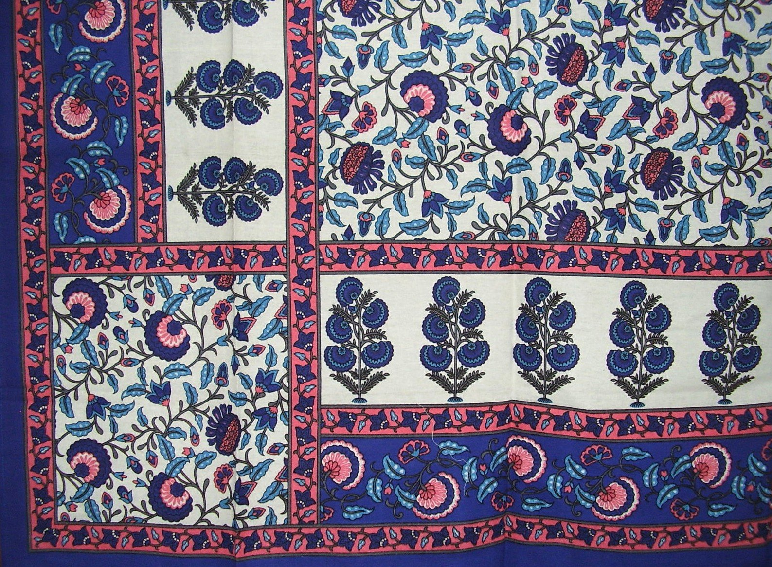 India Arts Floral Print Tapestry Cotton Bedspread 104'' x 88'' Full Blue