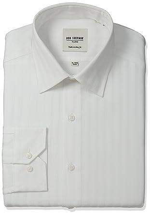 "aa4031e250 Ben Sherman Men's Slim Fit Textured Stripe Dress Shirt, White, 15.5""  Neck 32"""