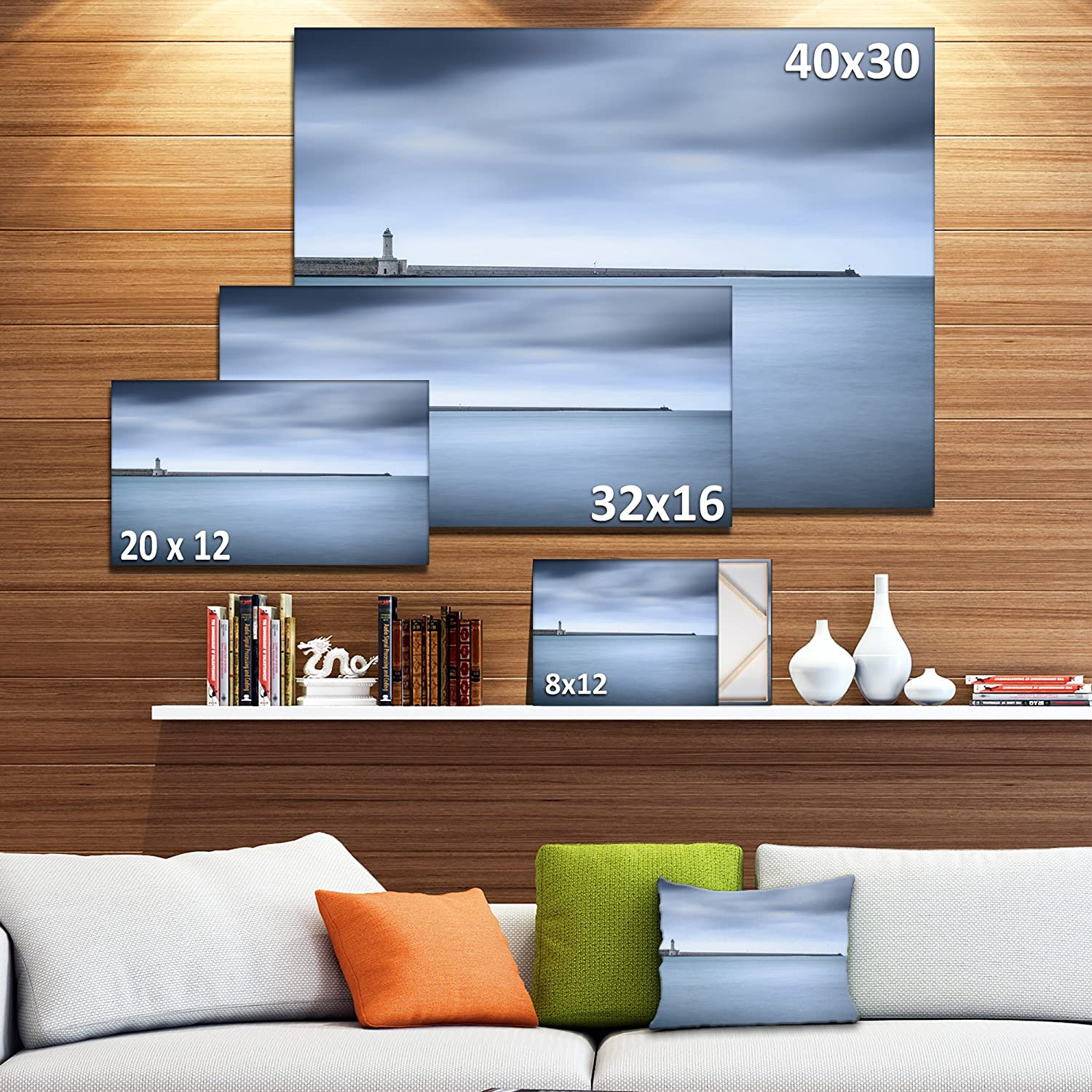 Amazon Com Designart Pt11333 20 12 Breakwater And Soft Water Under Clouds Oversized Landscape Wall Art Print 20x12 12 H X 20 W X 1 D 1p Posters Prints