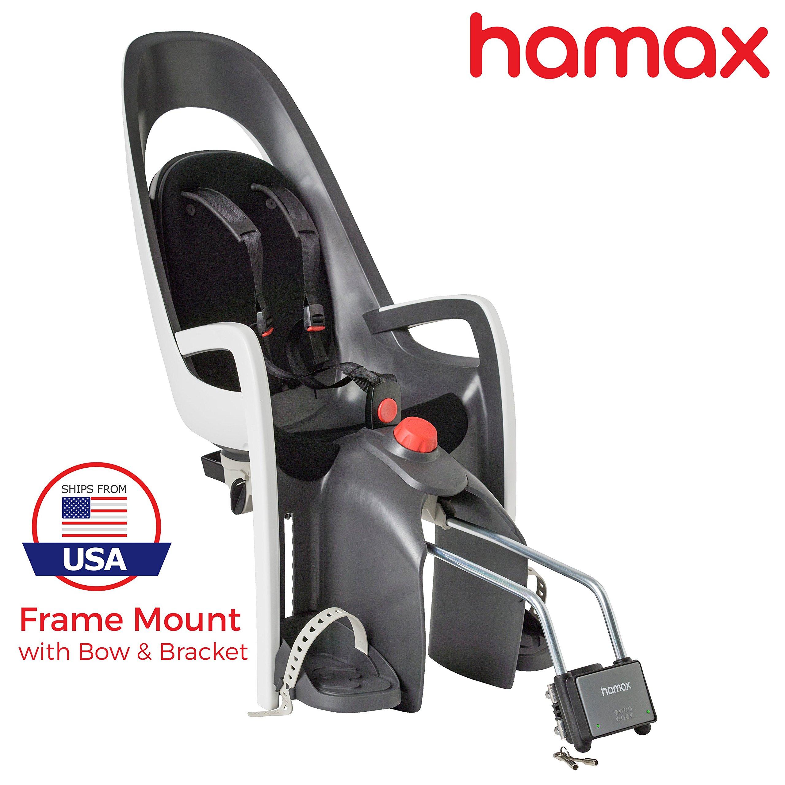 Hamax Caress Rear Child Bike Seat (Grey/White, Frame Mount) by Hamax (Image #1)