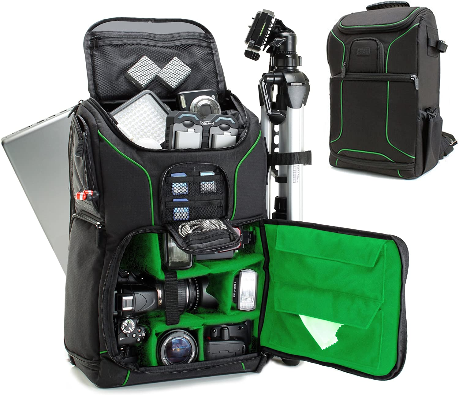 USA GEAR DSLR Camera Backpack Case (Green) - 15.6 inch Laptop Compartment, Padded Custom Dividers, Tripod Holder, Rain Cover, Long-Lasting Durability and Storage Pockets - Compatible with Many DSLRs