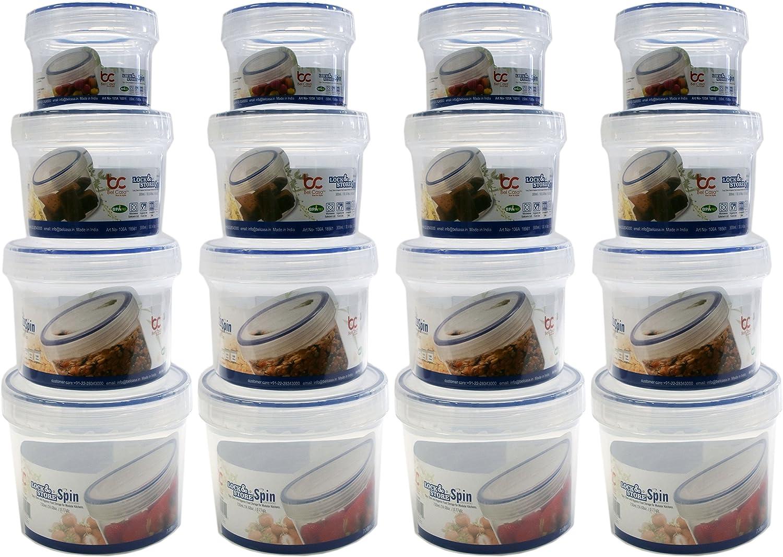 4のセットロック&ストアスピン食品ストレージコンテナ。4各種サイズ – Spin Top – 電子レンジ – 食器洗い機 – 冷凍庫安全 – BPAフリー – 簡単、クリーン、閉じ、衛生的Food Storage for Modular homes 。 クリア