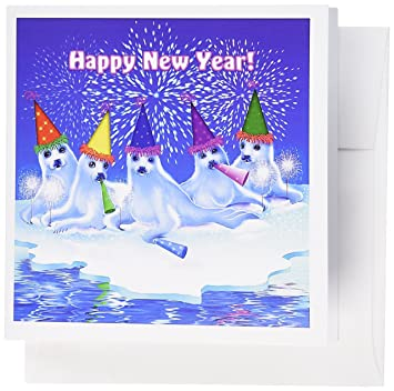 3drose a group of adorable baby harp seals celebrating and wishing everyone a happy new year