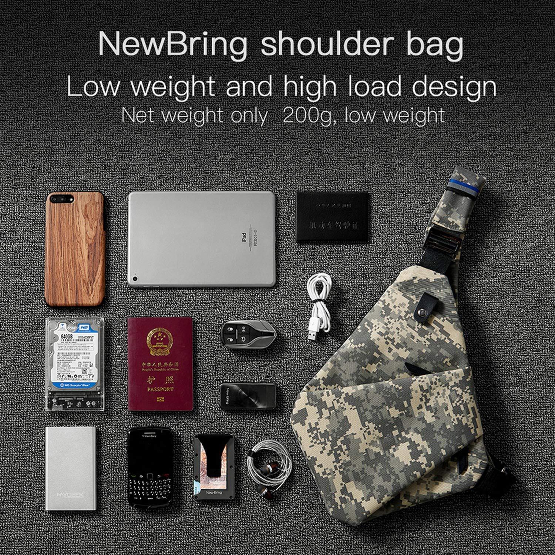 NewBring Chest Bag for Men Waterproof Nylon Crossbody bags Male Messenger Bag Casual Travel Handbags Shoulder Bags