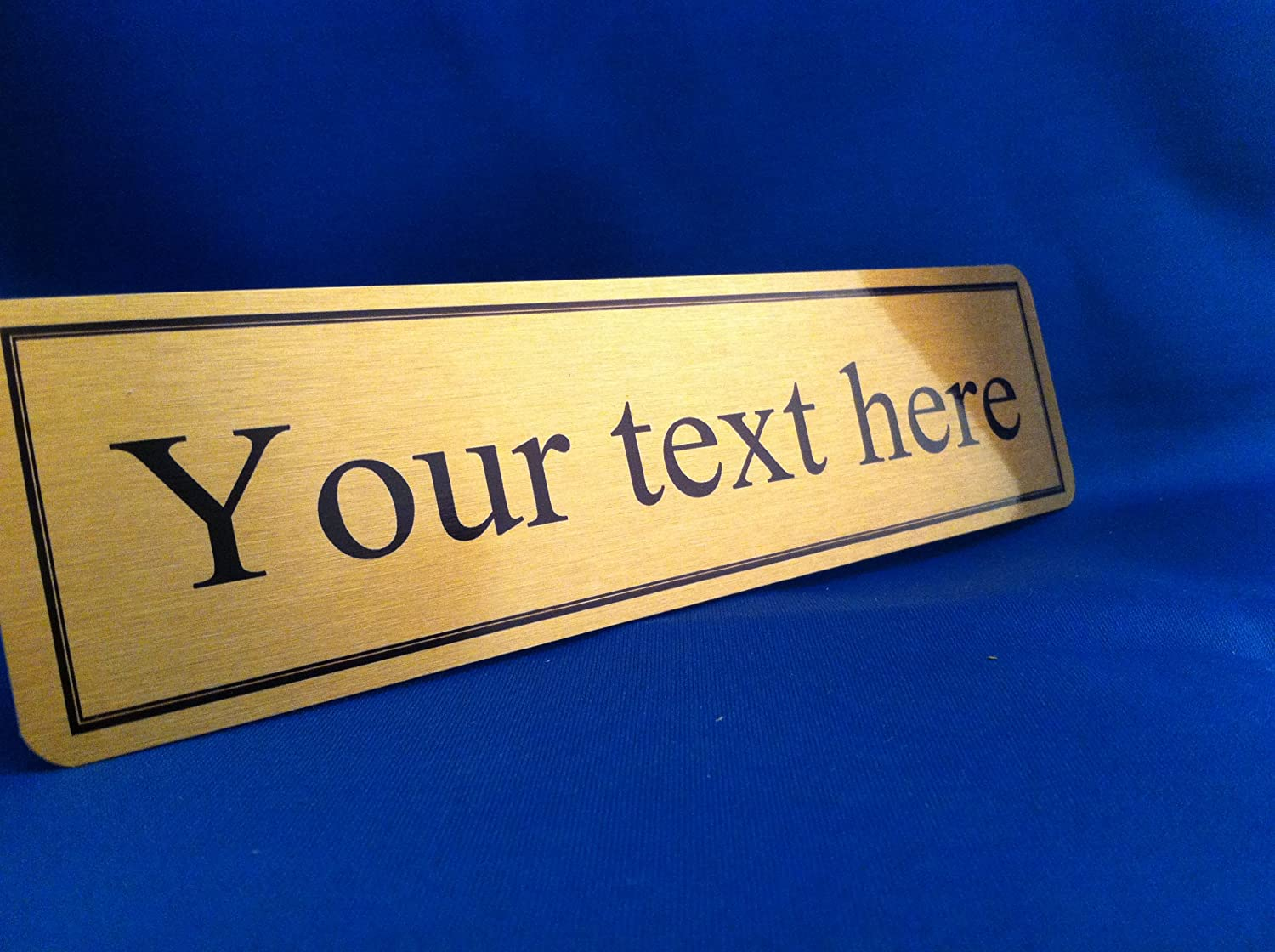 Beautiful Name Plaque Office Door Sign Gold 220mmX50mm Any Text Personalised:  Amazon.co.uk: Office Products
