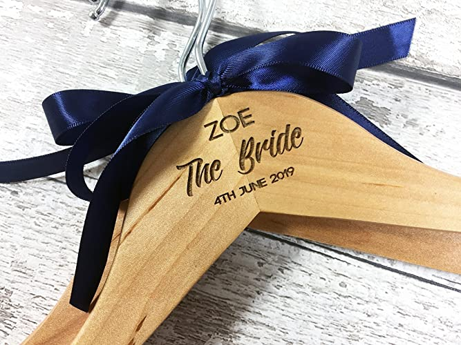 Bride personalised wedding bridal bridesmaid keepsake prom coat hangers laser engraved no vinyl stickers