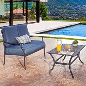 PatioFestival Patio Loveseat Set Heavy Duty 2-Person Cushioned Outdoor Sofa Bench with Coffee Table All Weather Steel Frame (2 Pcs,Blue)