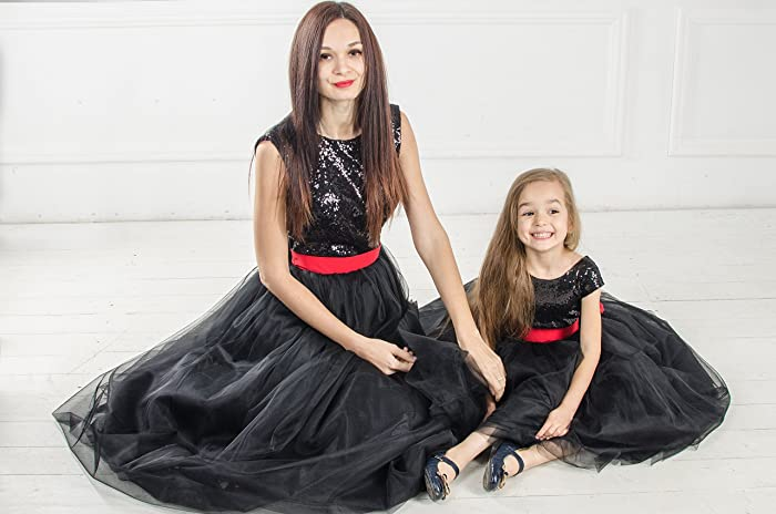 Black Mommy And Me Sequin Matching Dress Dresses Outfits Mother Daughter Tutu