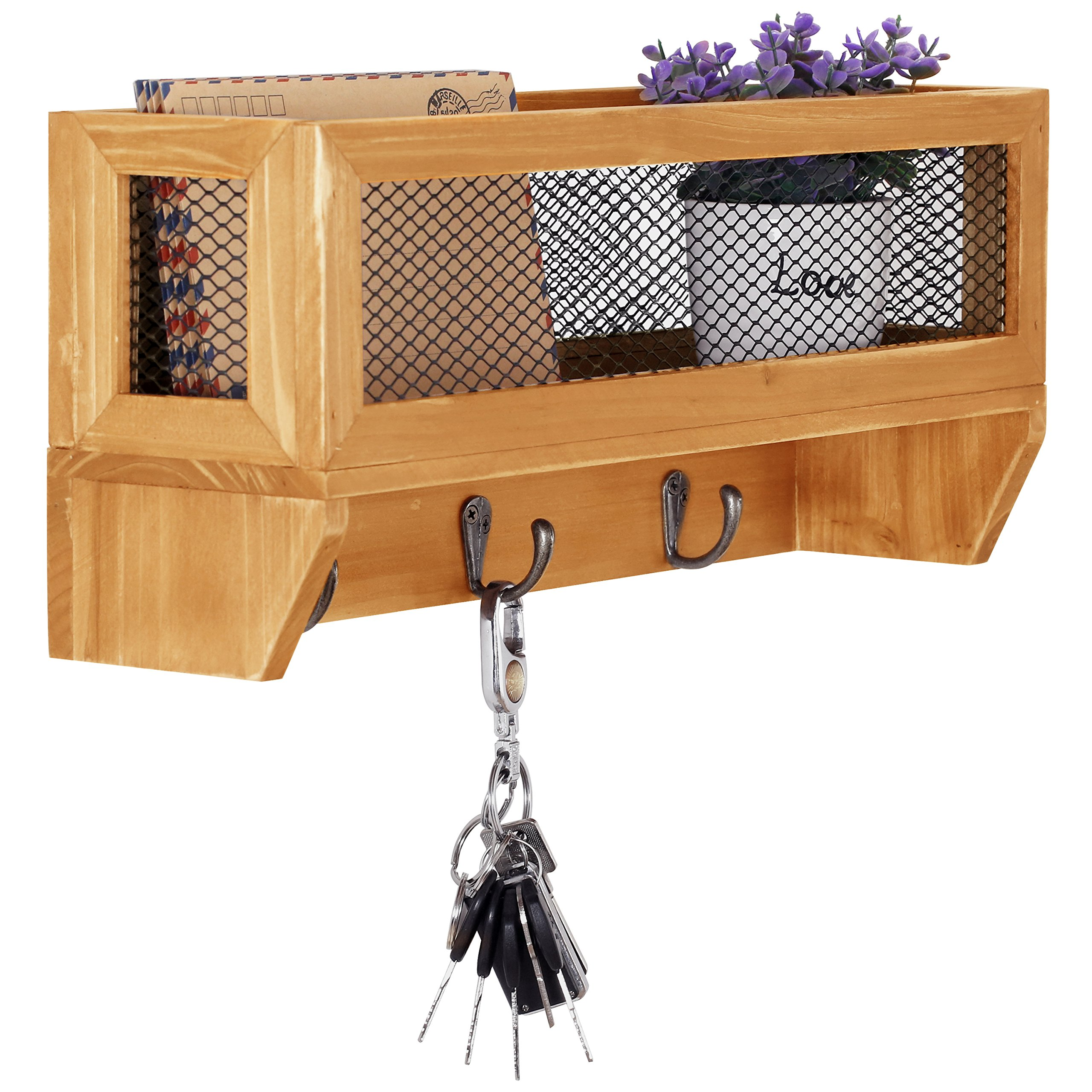 3-Hook Rustic Wooden Wall Mounted Entryway Organizer Rack with Metal Mesh Storage Basket by MyGift (Image #1)
