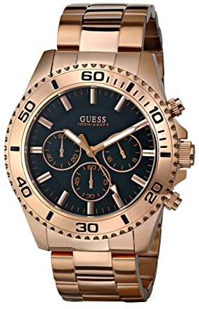 GUESS Mens U0170G3 Sporty Black Dial Rose Gold-Tone Chronograph Watch