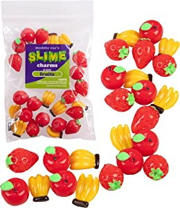 Maddie Rae's Slime Charms, Mixed Fruit 25 pcs of Slime Beads, Strawberry, Apple, Bananas