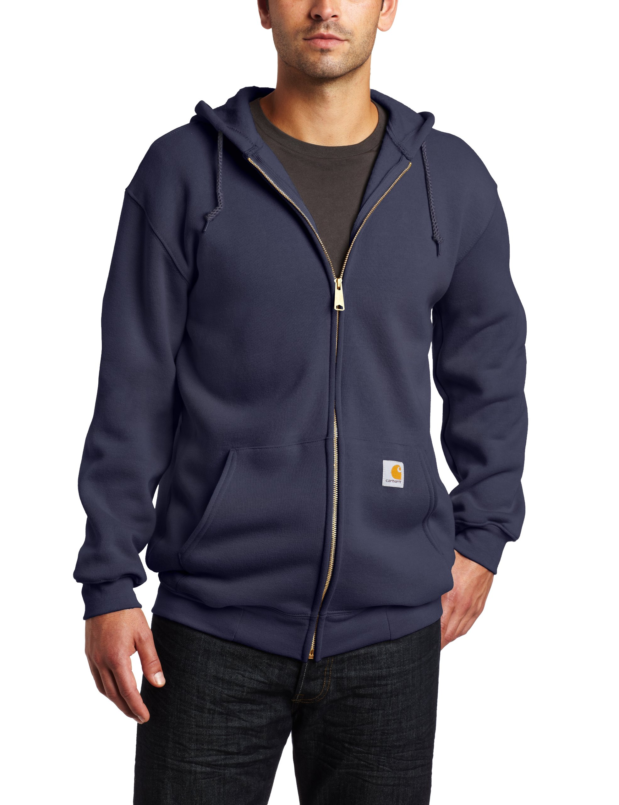 Carhartt Men's Big & Tall Midweight Sweatshirt Hooded Zip Front Original Fit,New Navy,XXXX-Large