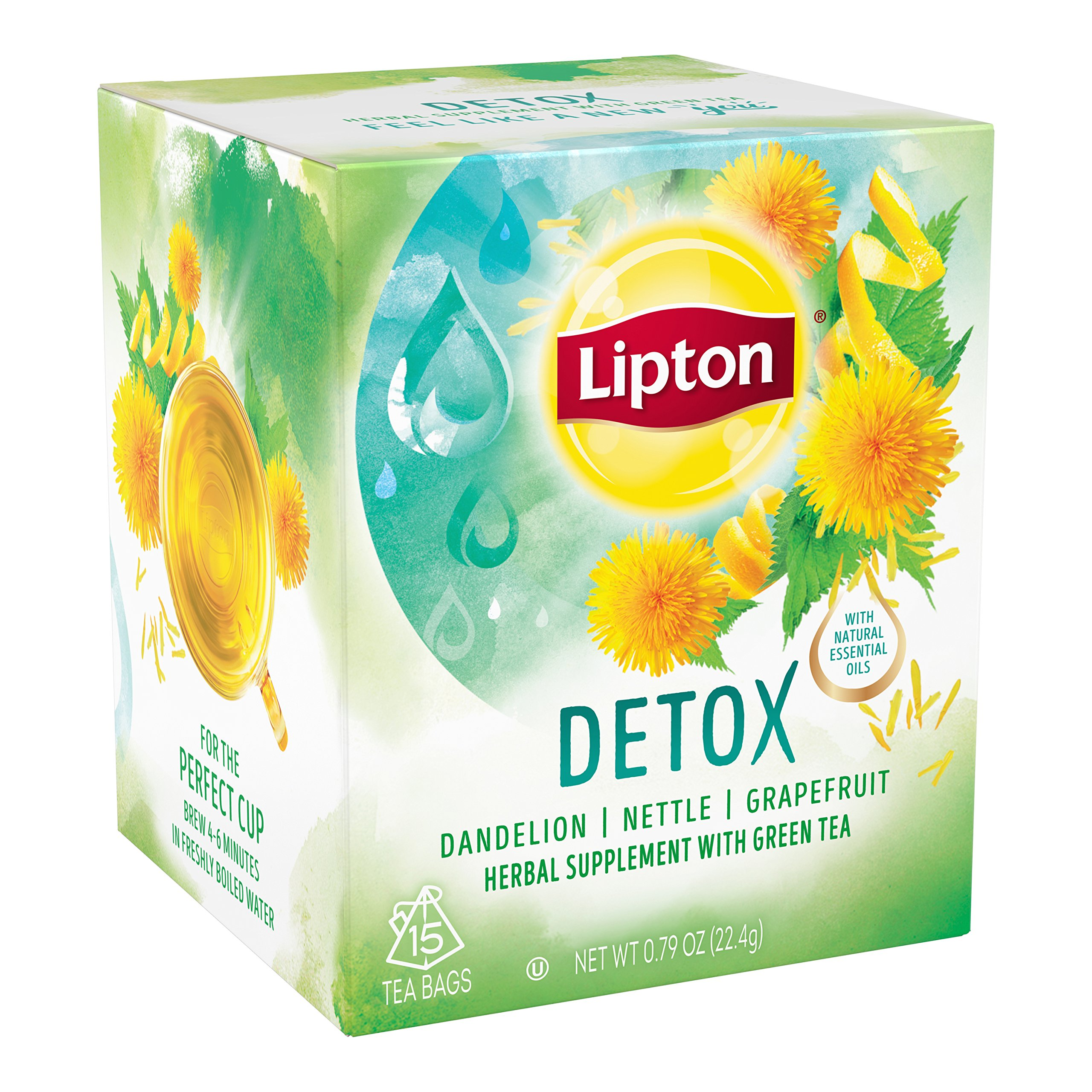 Lipton Herbal Supplement with Green Tea, Detox 15 ct, Pack of 4 by Lipton (Image #4)