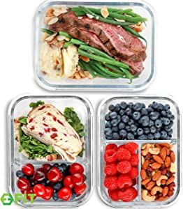 1 & 2 & 3 Compartment Glass Meal Prep Containers (3 Pack, 35 oz) - Glass Food Storage Containers with Lids, Glass Lunch Box, Glass Bento Box Lunch Containers, Portion Control, Airtight
